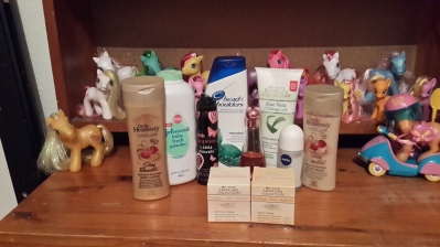 My new army of bath and beauty products - and yes, some of my ponies!